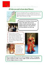 English Worksheet: All what you need to know about Morocco