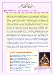 English Worksheets: ELIZABETH  I : THE GREATEST OF ALL. ( 2 )
