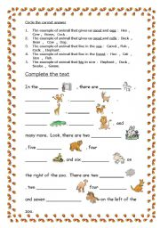 English Worksheets: animal 2