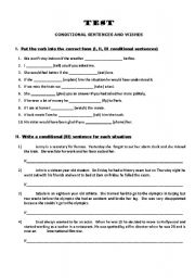 English Worksheet: Conditional sentences and wishes