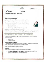 English Worksheets: writing plan