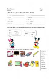 English Worksheets: colours, numbers, greeting
