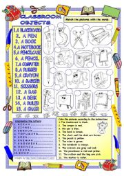 English Worksheet: Elementary Vocabulary Series 20 - Classroom Objects