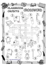 English Worksheet: Classroom Objects Crossword