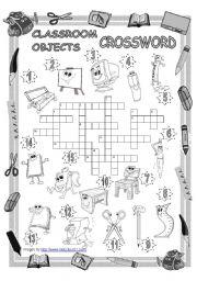 English Worksheet: Classroom Objects Crossword