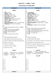 English worksheet: test - 7th grade key