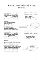 English Worksheet: Green Day - wake me up when September ends