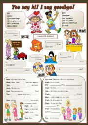 English Worksheets: YOU SAY HI! I SAY GOODBYE!
