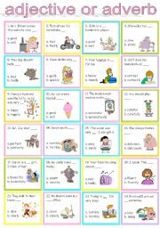 English Worksheet: adjective or adverb
