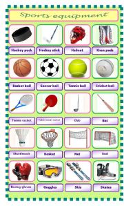 English Worksheet: Sports equipment - pictionary