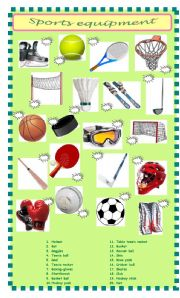 english teaching worksheets sports equipment. Black Bedroom Furniture Sets. Home Design Ideas