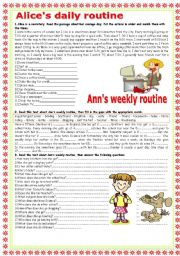 English Worksheets: Daily and weekly routine