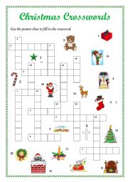 English Worksheet: Christmas crosswords