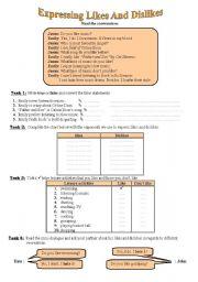 English Worksheet: Language Functions: Expressing Likes and Dislikes