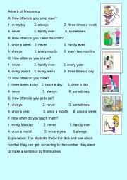 English Worksheets: How often do you....? Help the students understand the frequency words better.