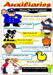 English Worksheet: AUXILIARY VERBS