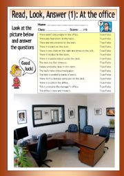 English Worksheet: Read - Look - Answer: At the Office (1)