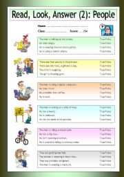 English Worksheets: Read - Look - Answer: People (2)