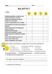 worksheet: Evaluation form