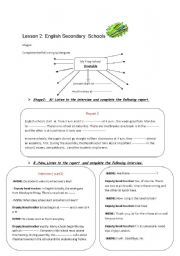 English Worksheets: module 2 lesson2 English Secondary Schools