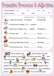 English Worksheet: possessive pronouns & adjectives