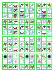 English Worksheets: BINGO SEA ANIMALS (24 cards and blanks to choose)