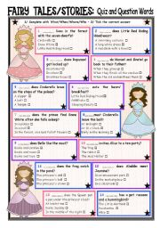 English Worksheet: Fairy Tales/ Stories (20) Quiz and Question Words