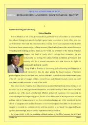 TEST ON NELSON MANDELA / HUMAN RIGHTS / RACISM / APARTHEID / DISCRIMINATION
