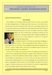 English Worksheets: TEST ON NELSON MANDELA / HUMAN RIGHTS / RACISM / APARTHEID / DISCRIMINATION