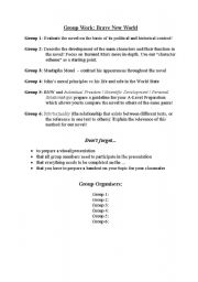 English Worksheet: Group Work second part of the Brave New World
