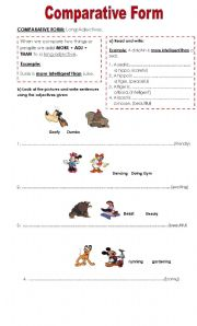 English teaching worksheets: Comparative adjectives