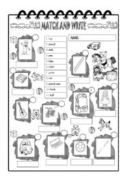 English Worksheet: Toys and school things