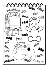 English Worksheet: School things, toys and colours