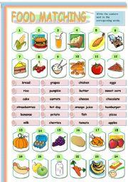 food matching exercise esl worksheet by roalmeida