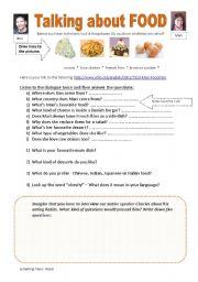 English Worksheet: Food: Listening Comprehension (website: elllo)