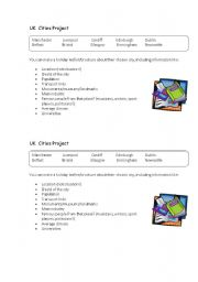 English worksheet: UK  Cities Project -