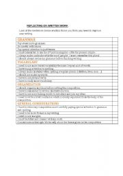 English Worksheets: reflecting on written work