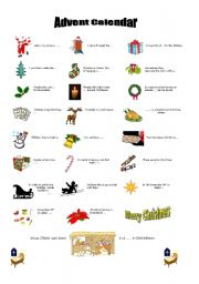 English Worksheet: Advent calendar, Christmas Vocabulary