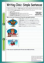 English Worksheet: Writing Clinic: Simple Sentences