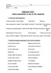 English Worksheets: Useful expressions test