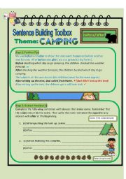 English Worksheet: Superwriters Series 1 - Conjunctions before/after (camping theme)