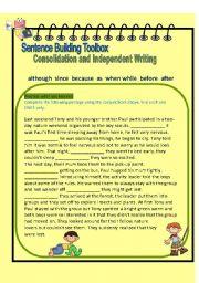 English Worksheets: Superwriters Series 1 - Conjunctions global practice/free writing