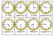 English Worksheet: Telling Time Bingo card nr.1/6