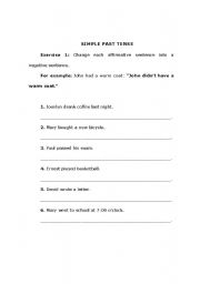 English worksheet: Exercises to practice the Simple Past Tense.