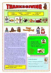 English Worksheet: Thanksgiving - reading (fully editable & key)