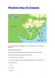 English Worksheet: Reading a map of Uruguay