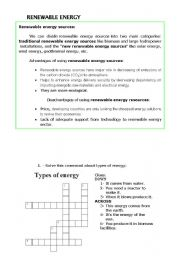 English teaching worksheets: Renewable energy