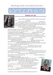 English Worksheet: Picasso�s Love Life (Cloze)