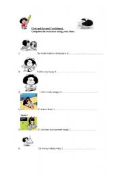English Worksheet: First and Second Conditional with Mafalda!!