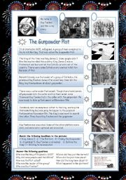 English Worksheet: The Gunpowder Plot
